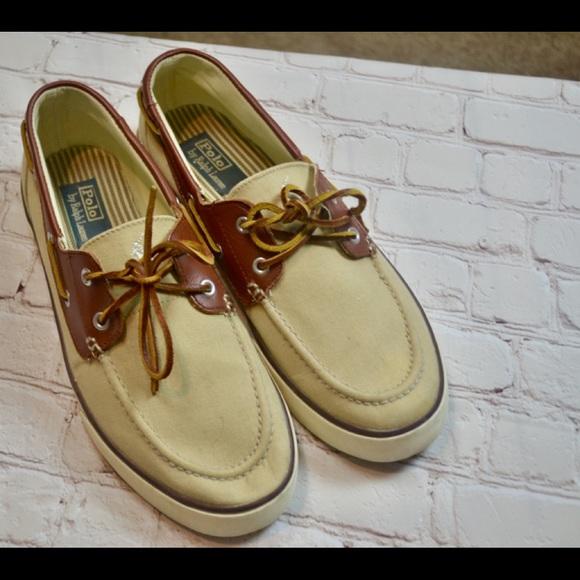17a5b8801c Polo Ralph Lauren 11D Beige Leather Boat Shoes